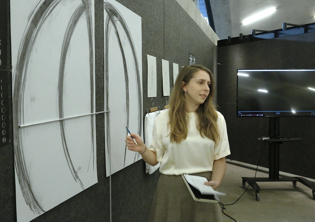 Sarah Bujnowski (M.Arch. '20) presenting her thesis project in Milstein Hall dome.