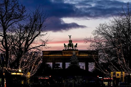 Brandenburg Gate, Xmas lights and sunset