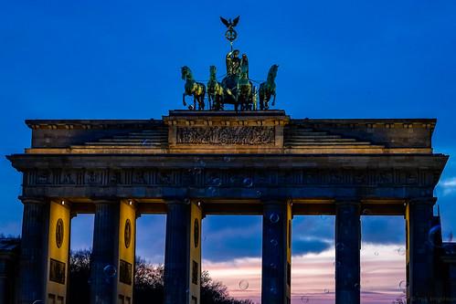 Brandenburg Gate sunset (and bubble machine)