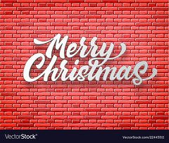 Vector merry christmas lettering red brick wall