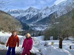 The twins in front of the Alps in Chamonix valley