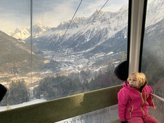 Great view of Chamonix Valley behind Madeleine as our gondola rises