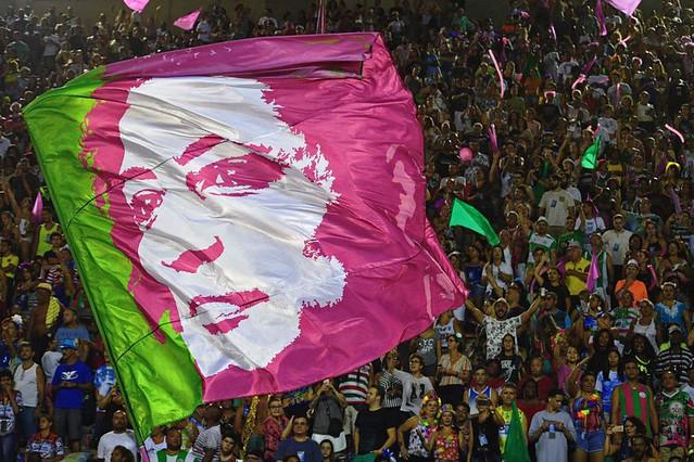 """Este ano, a verde e rosa se apresenta como a """"Estação Primeira de Nazaré"""" - Créditos: Carla de Souza/AFP"""