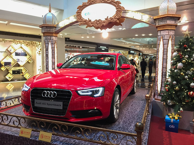 A luxury Audi car at shopping mall