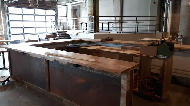 Reclaimed white oak Bar Tops, Thin Man Brewery.
