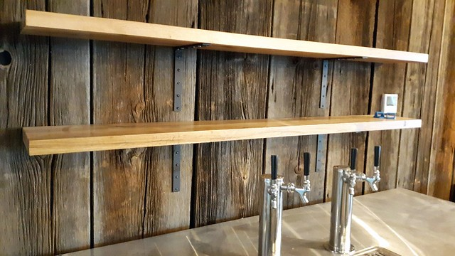 Shelves and wall sheathing. Thin Man Brewery, Chandler Street, Buffalo.