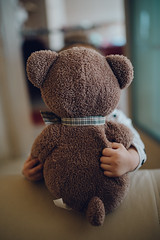Little girl hugs teddy bear