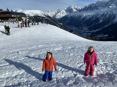 The twins at the Les Houches ski area high up in the Alps