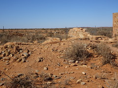 Silverton near Broken Hill. A few ruined walls are all that is left of the 1886 built Silverton Anglican Church.
