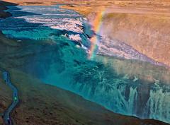 Tourists and Rainbow at Gulfoss