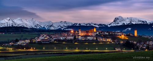 Crépuscule sur Romont (Switzerland)