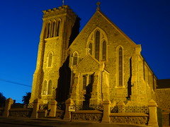 Broken Hill at night. The Cathedral of the Catholic Diocese of Wilcannia-Forbes. Sacred Heart Cathedral consecrated in 1905. The Cathedral at night.