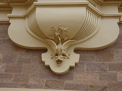 Broken Hill. A superb decorative griffen on the base of a decorative column. Town Hall opened in 1891.  Griffen was to deter evil spirits that could lead councillors to make bad decisions!