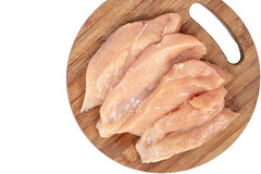 Raw Chicken Breasts on the wooden board with copy space