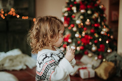 Little girl in Christmas sweater holding and eating ginger cookie