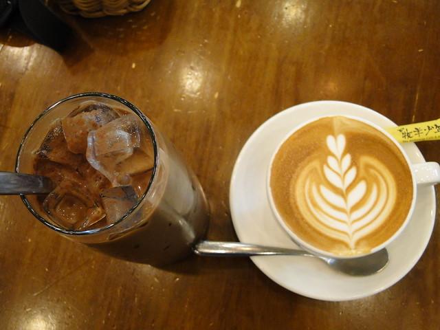 Cappuccino and ice coffee in Sha Tin, Hong Kong