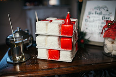 White and red Christmas marshmallow with coconut