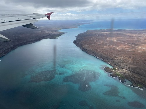 Flying back to Quito, the Itabaca Channel, the Galápagos Islands, Ecuador.