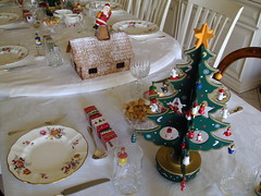 Adelaide. Gingerbread house, 1950s Santa Clause and Christmas tree.