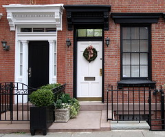 Black and white doorways and a Christmas wreath, West 11th Street, Greenwich Village, New York