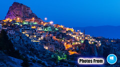 Photos From Windows 10 Launch Screen 08 - Mountain Town Evening Foreign Lights Colors Blue