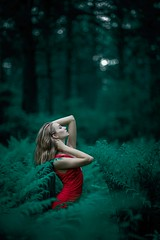 Woman wearing red sleeveless dress standing near fern leaves - Credit to https://homegets.com/