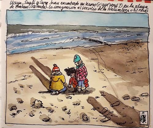 Maya, Santi y Sara el la Dunas de la playa de Bredene