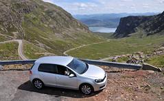 VW Golf on a Scottish mountain pass