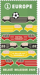 11 postzegel voetbal verenigt v7 coul cor sans perfo
