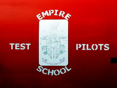Empire Test Pilots School crest on Hawker Hunter F.6A XF375,  at the Boscombe Down Aviation Collection.
