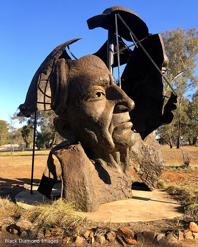 Six Metre Bronze Bust of Sculptor Henry Moore in Buckinbah Park,Yeoval, Central West, NSW