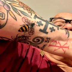 Small Bee tattoo, Lake Geneva WI.