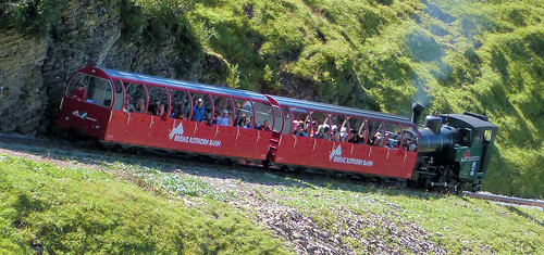 Brienz Rothorn Bahn, Switzerland - No. 14 with the second portion of the 10.45 from Brienz climbs away from Oberstafel on the 4th September 2019