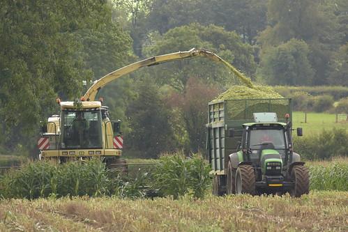 Krone Big X 630 filling a Smyth Trailer Field Master Super Cube Trailer drawn by a Deutz Fahr Agrotron 150.7 Tractor