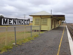Menindee. The railway from Sydney reached here in 1919 and only crossed the River Darling in 1927.  Used for the Indian Pacific, freight and Silver City Comet train these days.