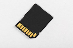 Compact flash memory card for photo on white background