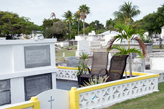 outdoor chairs at graveside