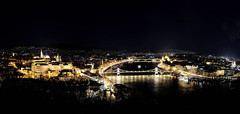 Aerial view over Buda Castle and Danube river