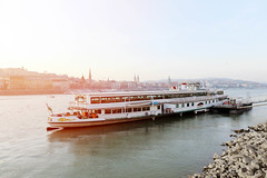 Ship sailing on Danube river, Budapest