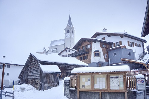 Quiet moment in a small Swiss alpine town