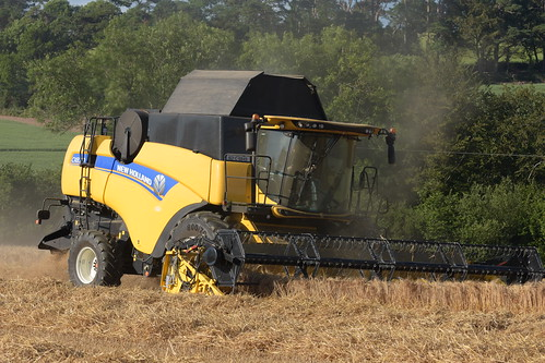 New Holland CX8.70 Combine Harvester cutting Winter Barley