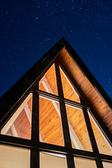 Stars over the A frame cabin