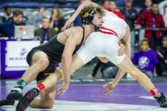 133# 1st: No. 2 Seth Gross (Wisconsin) dec. No. 1 Austin DeSanto (Iowa), 6-5