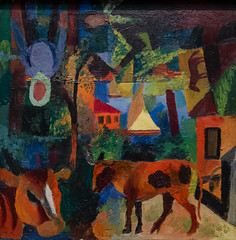 August Macke, Landscape with Cows, Sailing Boat, and Figures, 1914 9/28/19 #stlartmuseum