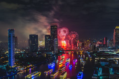 New year fire work at Bangkok