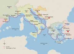 2021 Mediterranean's Iconic Shores Itinerary Map from Barcelona to Istanbul