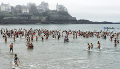 Sea bathing on December 31st in Dinard (France)