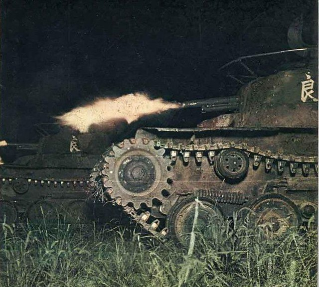 captain-price-official: captain-price-official: Chi-Ha tank of 1st Tank Division during a night exercise in northeastern China, 2 Jan 1943 77 years ago