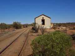 Silverton. Mining ghost town. The Silverton Tramways Company station. Ran from SA border to Broken Hill 1887 to 1969. Carried 2.8 million passengers 42 million tons ores and 14 million tons of freight.