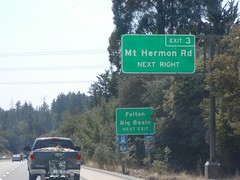 State Highway Junction Route CA-17 Southbound Santa Cruz Freeway approaching Exit 3 - Mount Hermon Road to Felton and Big Basin (Diesel Fuel Station, Food, Lodging, Camping) Next Right Exit 1/4 = 0.25 Mile Ahead with this overhead sign located at
